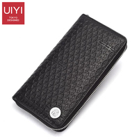 UIYI Men Wallets Long Men Purse Wallet Male Clutch Genuine Leather Black and Red Casual Men Business Male Wallets Coin #UYQ8004