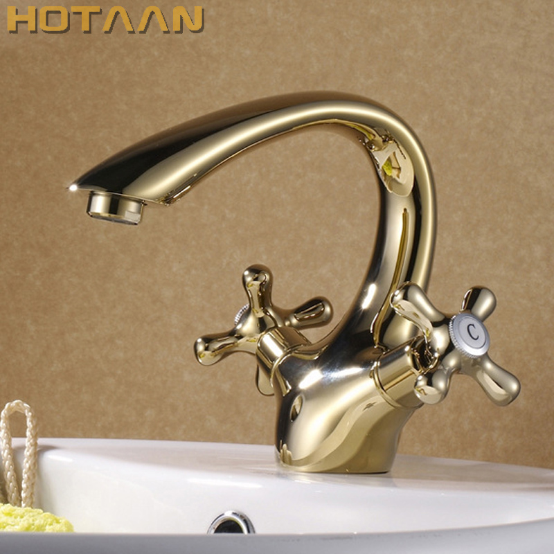 Free Shipping New arrival Bathroom gold Basin Faucet Gold finish Brass Mixer Tap with ceramic torneiras para banheiro YT-5063