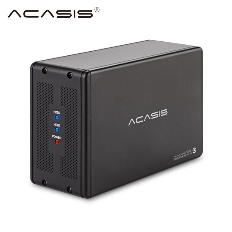 USB externe 3.0 sata 3.5 pouces Double Disque Dur Série SATA Disque Dur Mobile Array RAID Disque Dur Boîte ordinateur portable Station d'accueil pour DISQUE DUR