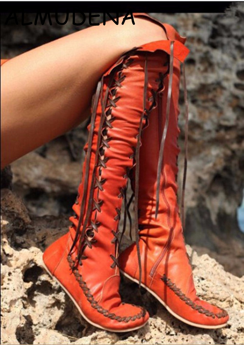 Solid Lace up Fringe Flat With Knee High Boots Red Orange Purple Confortable Casual Rome Style Shoes