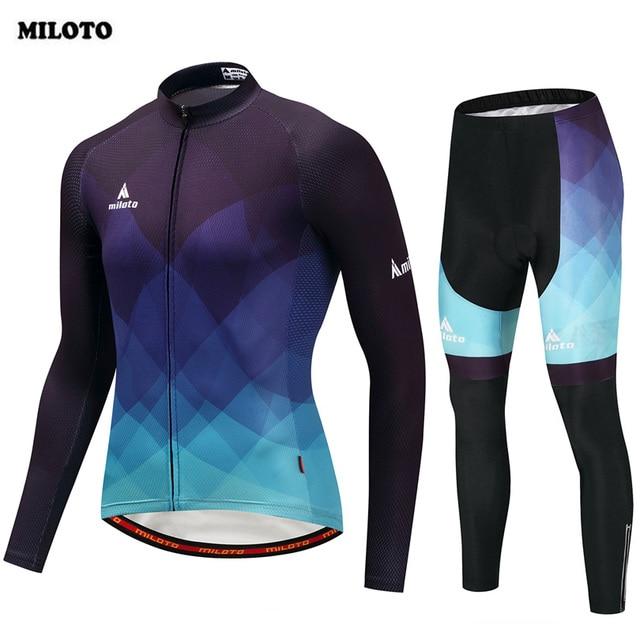 MILOTO Pro Long Sleeve Men s Cycling Jersey Sets Breathable 3D Pad Bib Pants  Bicycle Sportswear Bike cee8831c3