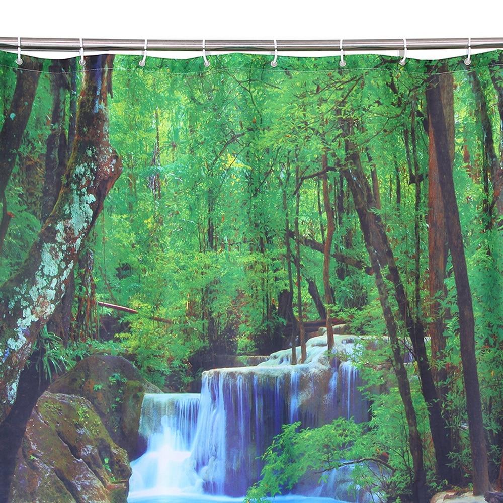 Happy Tree Polyester 3D Röd Papegoja Dusch Gardin 3D Vattenfall - Hushållsvaror - Foto 5