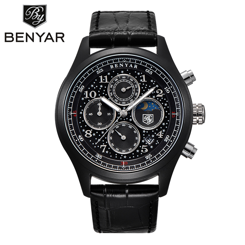 BENYAR Military Men Watch Water Resistant Quartz Battery Date Display Genuine Leather Stainless Steel Strap Mineral Glass Gift купить недорого в Москве