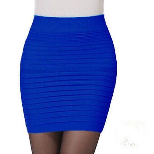 9929b8ea1 Sexy Royal blue A Line Mini Skirt Clubwear Short Pencil Pleated Bodycon  shirt