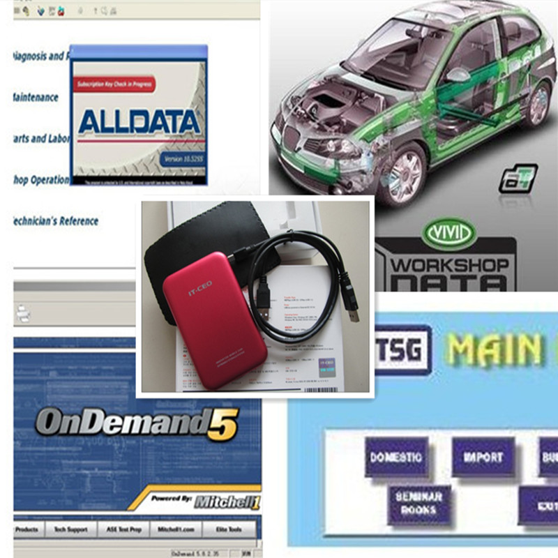 Newest Car Repair Software Alldata 10.53+Mitchell on demand 2018+Vivid And so on 24 in1 Software in 1TB HDD