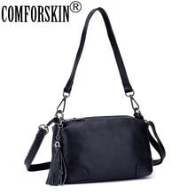COMFORSKIN Premium Cowhide Leather Womens Messenger Bags Guaranteed Bolsas Feminina New Arrivals Tassel Style Cross-body