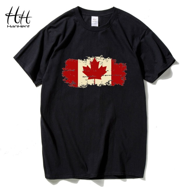 HanHent Kanada Flagge 2016 Neue Mode T-shirt Baumwolle hülse T-shirt Kanadischen Ahornblatt Sommer Stil Fitness t-shirt männer