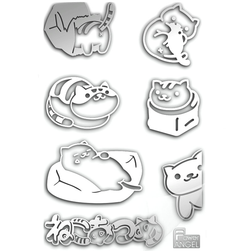 PowerAngel Neko Atsume Anime Cartoon Japanese Kawaii Phone Stickers DIY 3D Metal Decal Stickers for Laptop