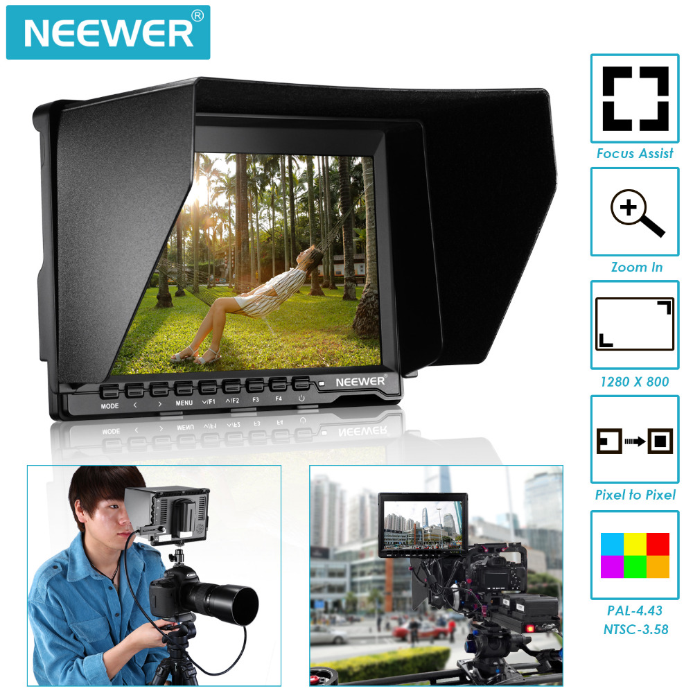 Neewer NW759 7 inches 1280x800 IPS Screen Camera Monitor for Sony Canon Nikon Olympus Pentax with USB F550 Replacement battery neewer 7 inches hd on camera field monitor with remote control hdmi signals ips screen 1280x800 resolution for canon nikon