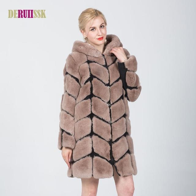 129cbe4200e Plus Size Genuine Rex Rabbit Fur Coat Women Natural Fur Full Pelt Long Jacket  Real Rex Rabbit Fur Thick Warm Outwear Coat