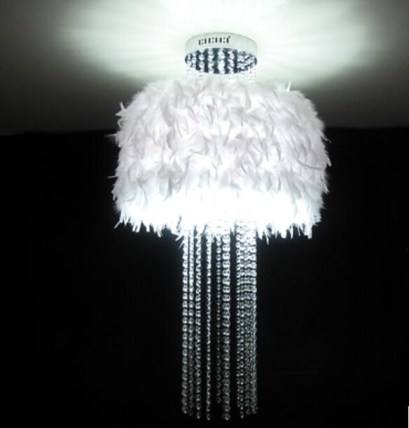 цена на pendant lights bedroom living room lights crystal lamp feather tassel k9 crystal feather pendant lamps ZL339