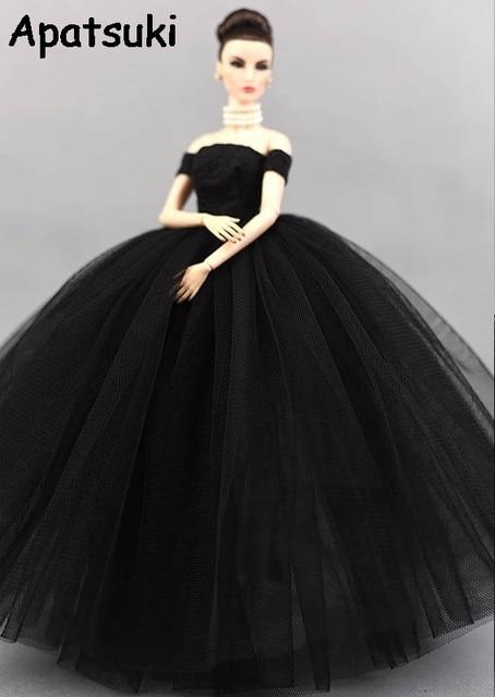 2f1fe0806d64af Маленькие черные платья свадебное платье для куклы Барби принцесса  Вечеринка одежда носит Длинные платья Одежда для