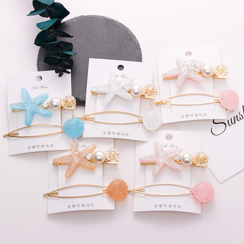2PCS/Set New Sweet Acrylic Starfish Shell Pearl Hair Clips For Women Girls Lovely Headband Hairpins Barrettes Hair Accessories