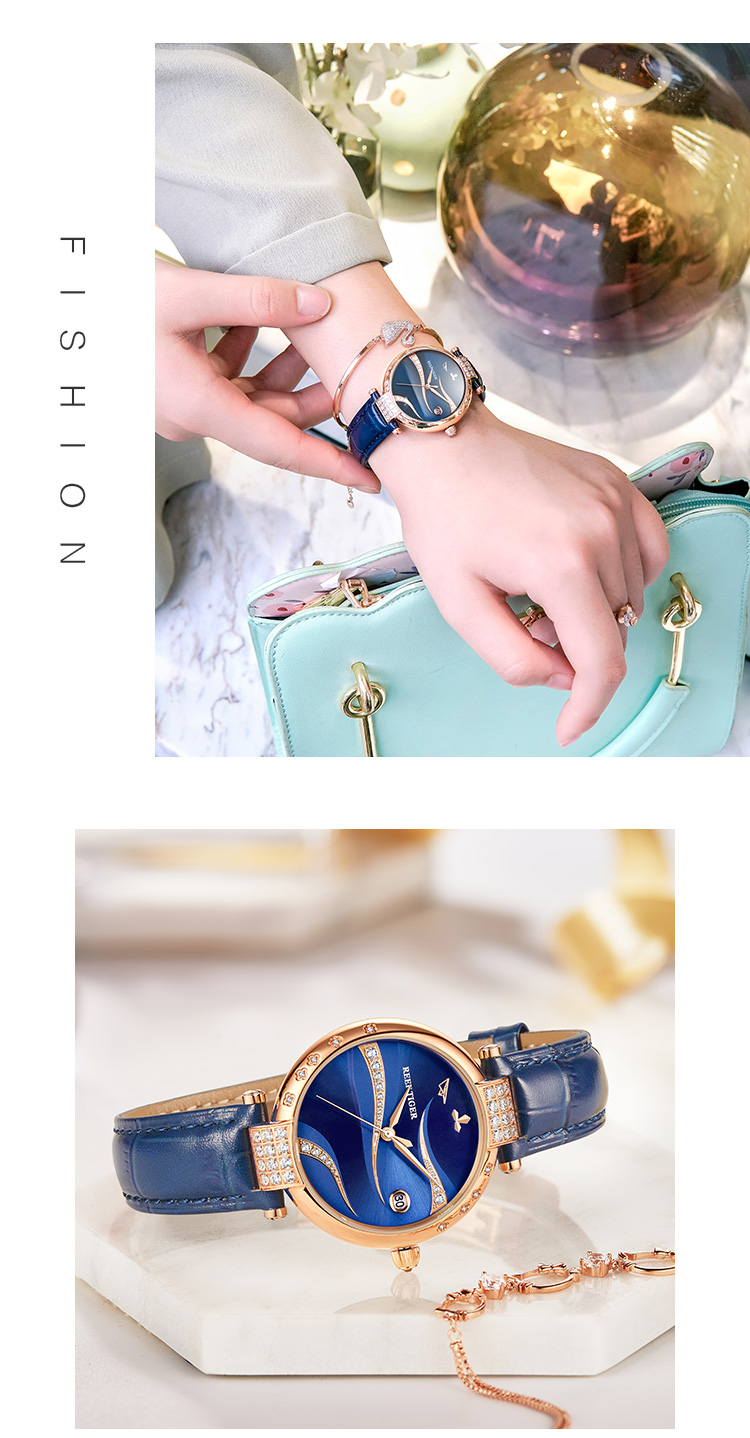 Reef Tiger/RT Women Fashion Rose Gold Case Stainless Steel Watch Analog Calendar Automatic Green Dial RGA1589 1