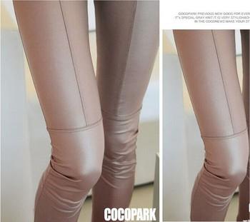 2019 women sexy Black coffee Modal leggings leggin plus size girl pants Patent leggings free shipping 3