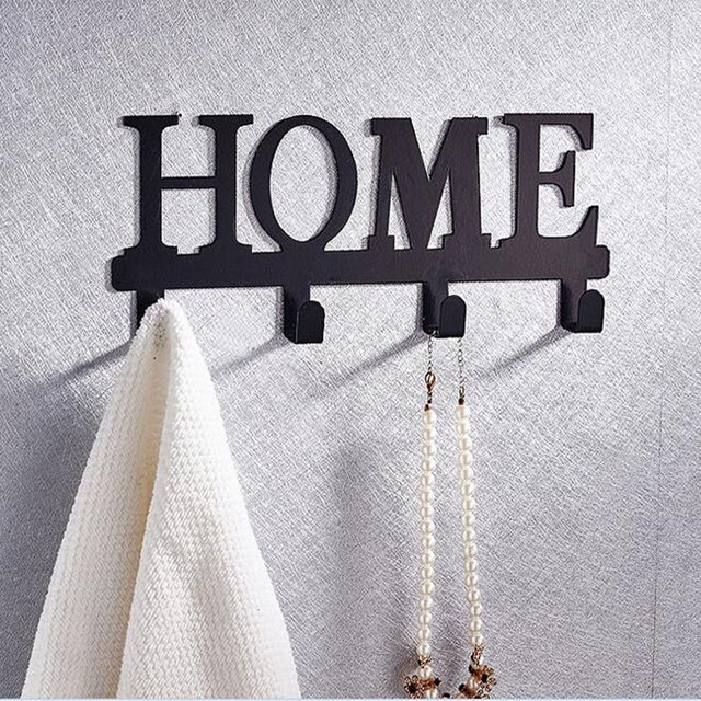 Iron English Alphabet Letter Design Robe Hooks Coat Clothes Hangers Storage Rack Organizer For Bathroom Accessories Home Decor
