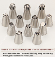 12PCS Set Russian Tulip Nozzles Set Stainless Steel Icing Tips Ball Flower Nozzles Cake Tool Decorating