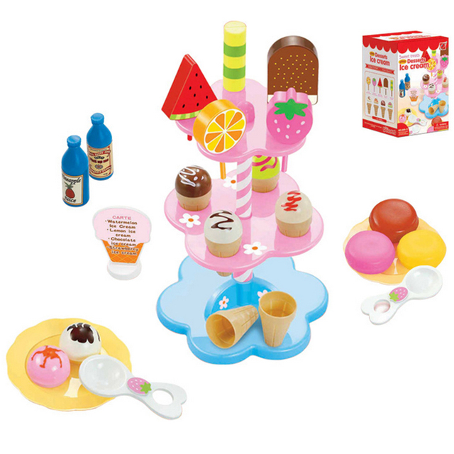 Plastic Simulation Ice Cream Toy Early Development and Education Toy for Children Christmas Gift Girl Xmas Gift - Color Random