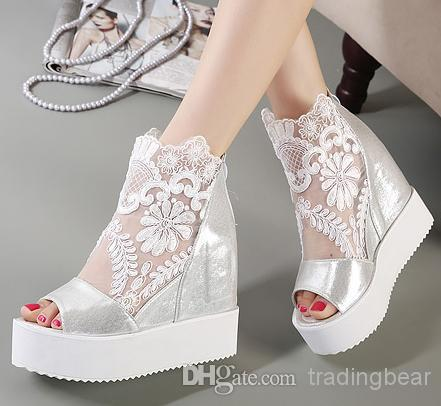 Newest White Silver Y Lace Platform Wedge Heels Dress Shoes Wedding P Toe Women