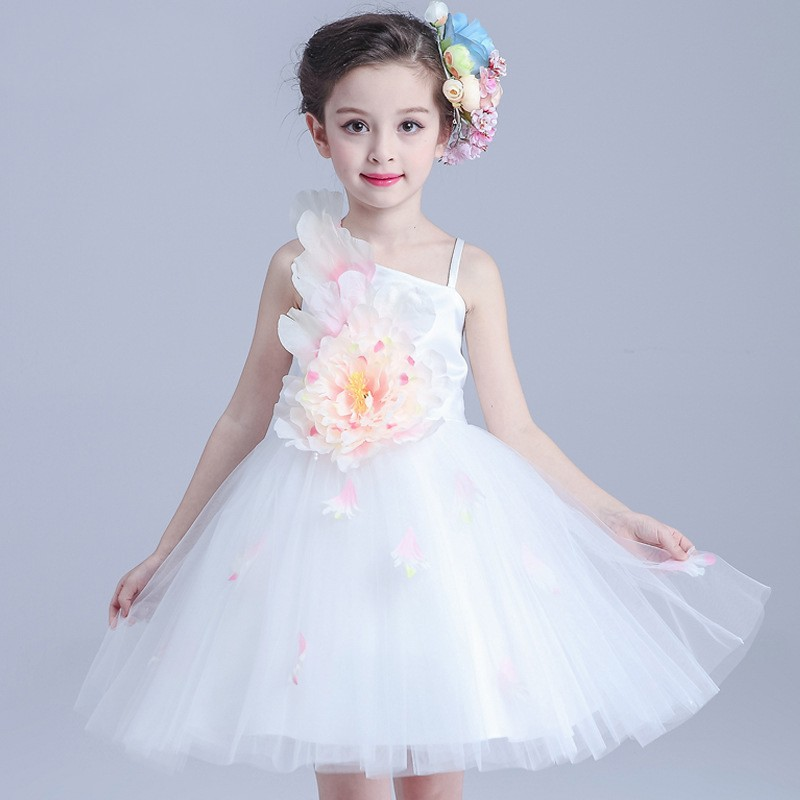 Girls princess party dress summer style baby girl dresses with belt
