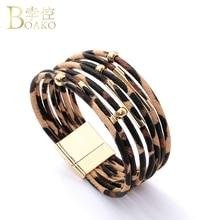 BOAKO кожаные браслеты женские браслеты Леопардовый принт браслет с брелоками Femme ювелирные изделия Z5