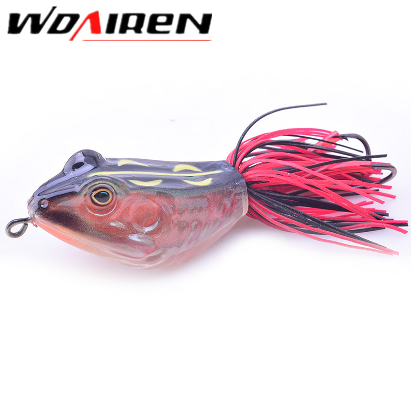 WDAIREN Popper Frog Lure 85mm/11.2g 3D Snakehead Lure Topwater Simulation Frog Fishing Lure Soft Bass High Quality Bait WD-471 frog lure m