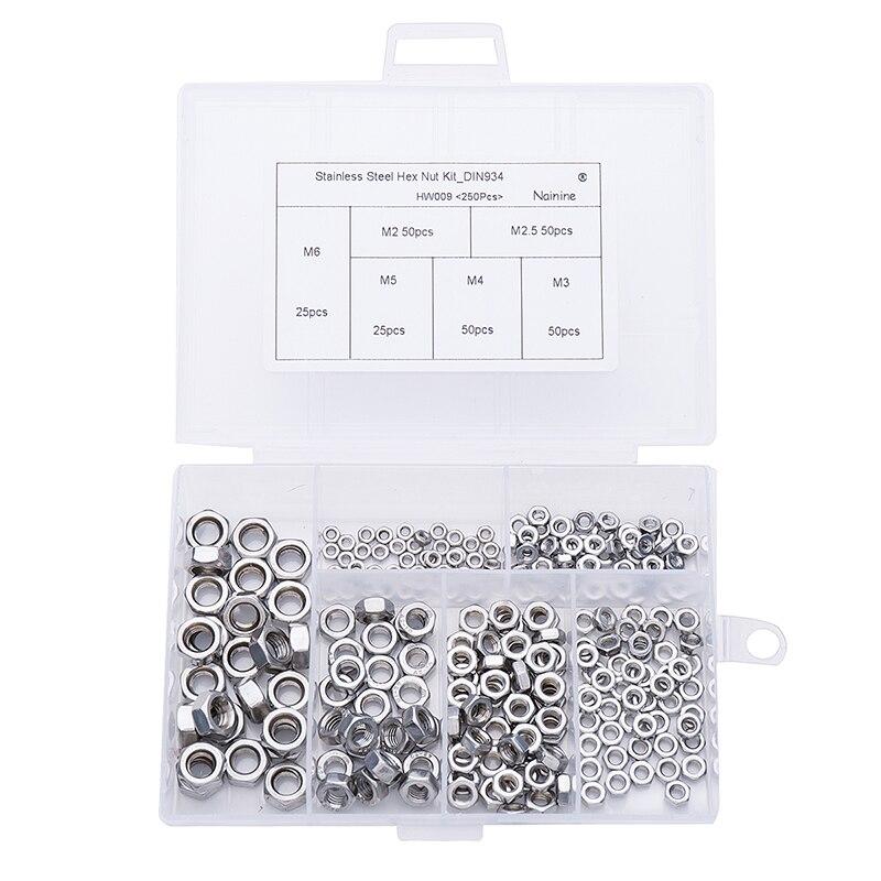 250Pcs/set DIN934 M2 M2.5 M3 M4 M5 M6 Metric Thread Hex Nut Hexagon Nuts Assortment Kit HW009 4pcs set hand tap hex shank hss screw spiral point thread metric plug drill bits m3 m4 m5 m6 hand tools