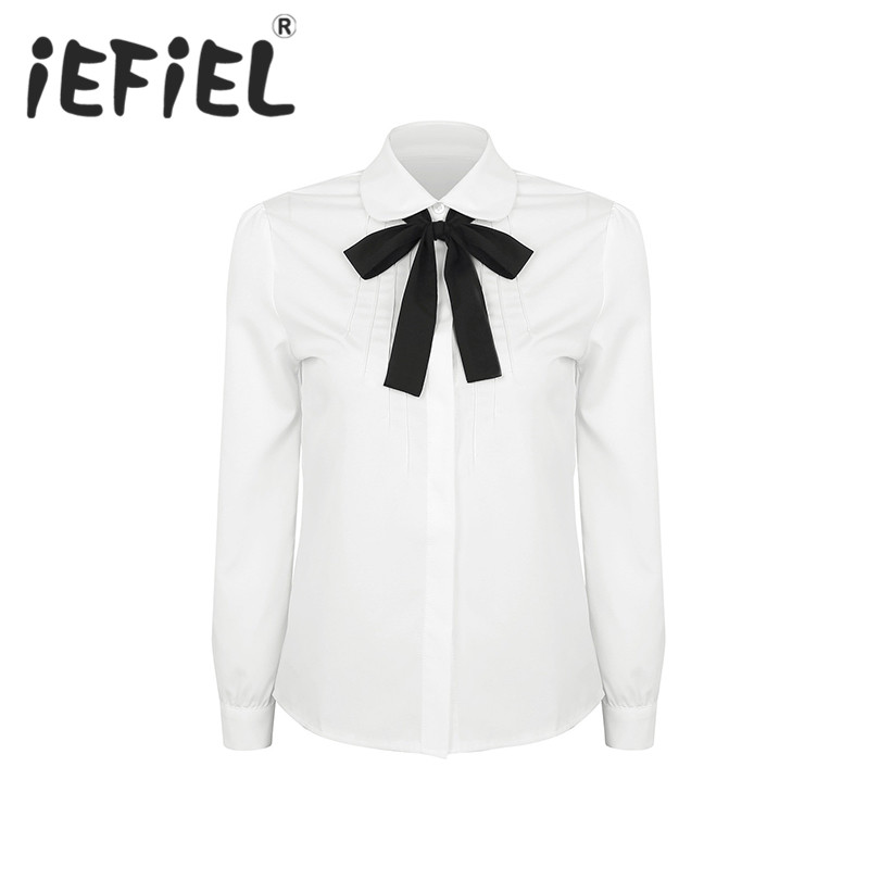 iEFiEL Fashion Women School Girls Long Sleeve Button-Down Shirt Blouses with Removable Bowknot Formal Occasion Party Shirts