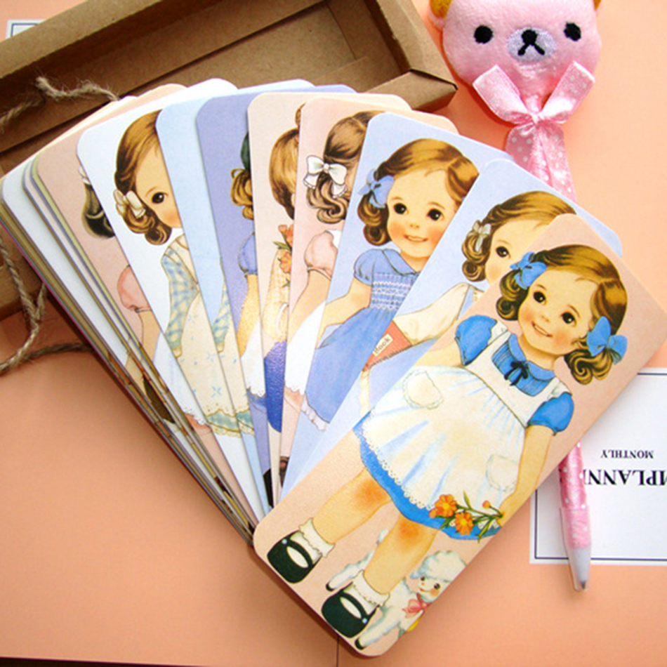 30PCS/lot New Girl Doll Mate Series Bookmark Set With Kraft Package Paper Bookmarks Book Holder Message Card