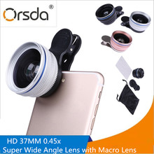 Orsda 37mm Macro Mobile Lens 0.45X Super Wide Angle Lenses 2 in 1 Universal HD wide angle Phone Camera Lens Kit For iPhone 5S LG