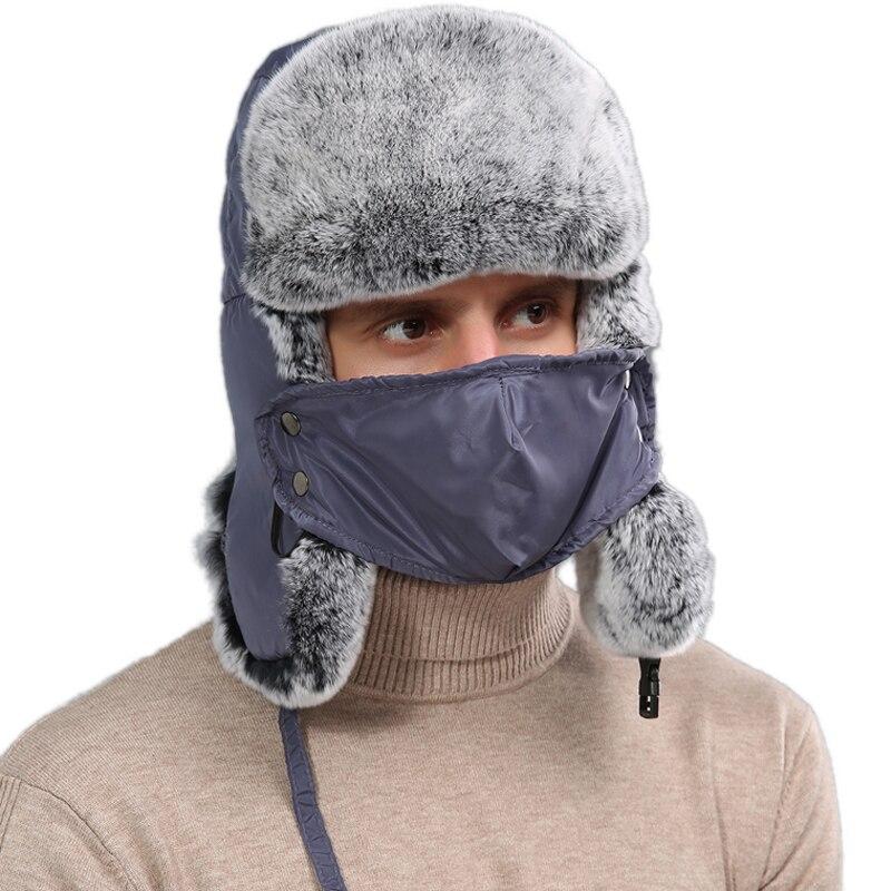Hommes réel Rex lapin Bomber chapeaux unisexe hiver chaud Ushanka casquettes avec masque facial russe trappeur thermique chapeau earrabat neige Ski casquette