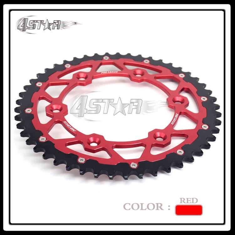 ФОТО 49T Red CNC Aluminum Rear Chain Sprocket Steel For CR125R CR250R CRF230 XR250 CRF250R CRF250X CRF450R CRF450X CR500R XR650R