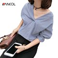 Vancol 2016 Summer Women Blouse Cotton V Neck Sexy Open Back Blouse Lady Flare Sleeve Tops Elegant Fashion Women Cotton Shirt