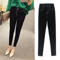 2016 autumn women's black stretch cotton slim skinny legging jeans