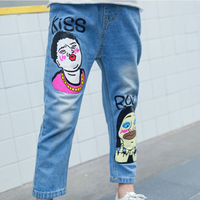 Fashion Baby Girls Denim Pants Children Clothes Cute Comfortable Vintage Cartoon Print Jeans Casual Kid Cowboy