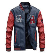 New Men Embroidery Baseball Jackets Coats Pu Faux Leather Slim Fit Zipper Casual College Luxury Brand Coat