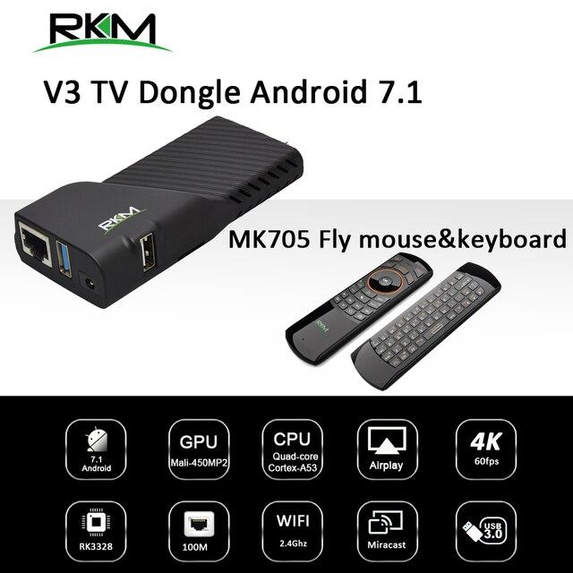 Android 7,1 caja de TV RK3328 Rockchip 2 GB 8 GB 2,4G WIFI 100 M. reproductor de medios y volar ratón RKM V3 + MK705