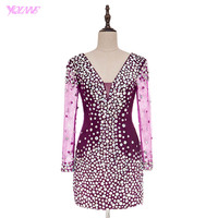 YQLNNE Sexy Deep V Neck Long Sleeves Prom Dresses Purple Tulle Crystals Real Photos Short Mini