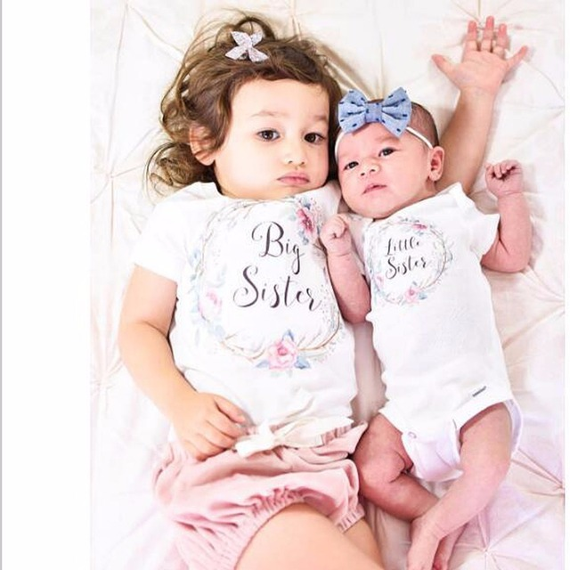 efe8bdfca38a Puseky Cotton Cute Baby Girl Big Sister Tops Little Brother Sister ...