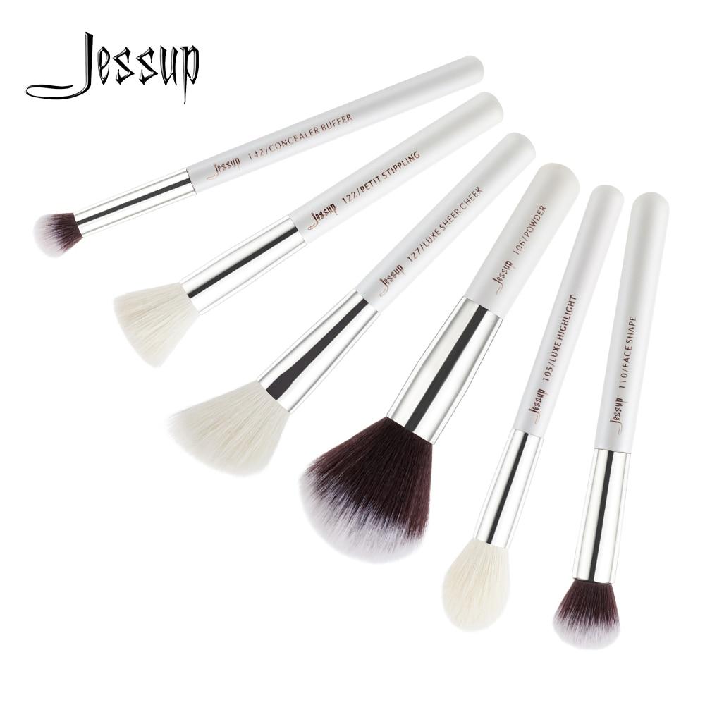 Jessup kuas, 6 pcs putih / perak kuas Makeup profesional, Bubuk - Riasan