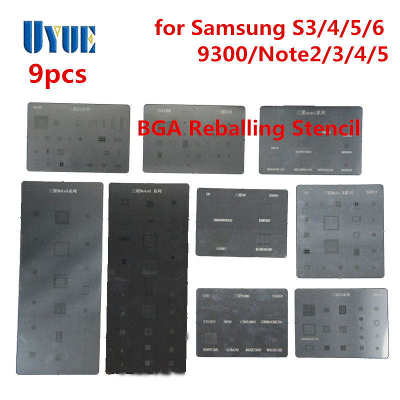 Factory Wholesale 9pcs/lot BGA Stencil Direct Heating Reballing Stencil for Samsung S3 S4 S5 S6 Note2 Note3 Note4 Note5 9300