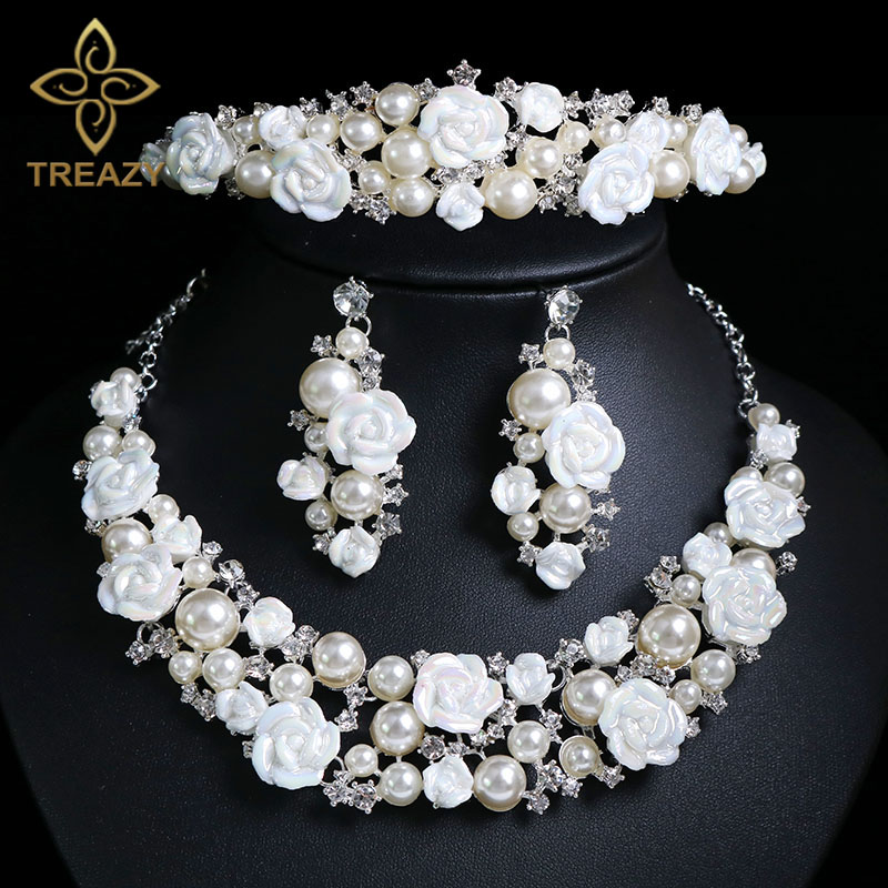 TREAZY Luxury Ceramic Flower Imiate Pearl Crystal Bridal Jewelry Set For Women Necklace Earrings Crown Tiara Wedding Accessories classical malachite green round shell simulated pearl abacus crystal 7 rows necklace earrings women ceremony jewelry set b1303