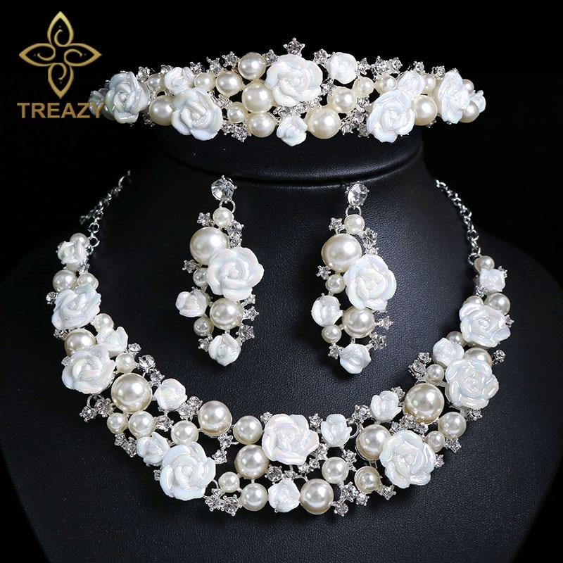 TREAZY Luxury Ceramic Flower Imiate Pearl Crystal Bridal Jewelry Set For Women Necklace Earrings Crown Tiara Wedding Accessories luxury artificial crystal pearl flower necklace