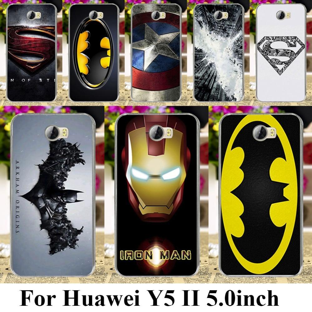 Galleria fotografica Cas Couverture pour Huawei Y5 II Y6 ii MINI CUN-U29 Y5 2 Y5II Y5 2e superman logo batman spiderman captain america Y6 ii Compact sac