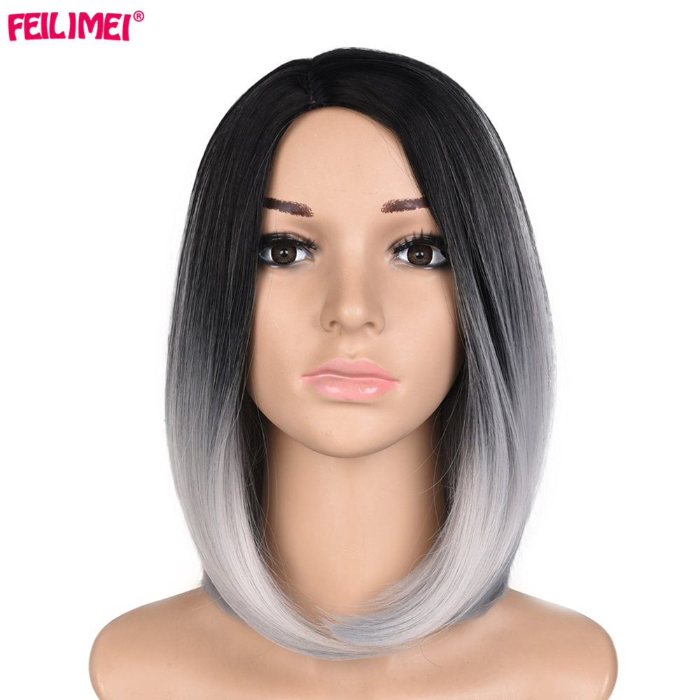 Feilimei Ombre Gray Bob Wig 160g African American Synthetic Kanekalon Hair Short Straight Ombre Colored Cosplay Wigs