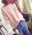 2017 Women Pink White Casual Loose Print Letter T shirt Woman Tee Fashion Tops O neck Cute Womens T-shirt