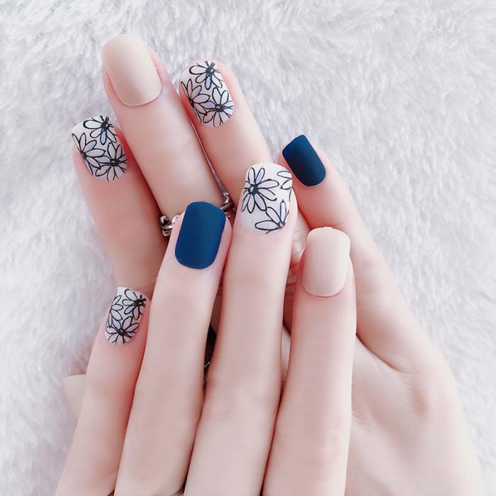24 pçs simples moda falso ongles com