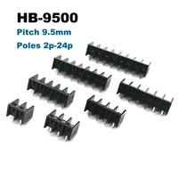 50 pcs barrière vis PCB bornier pas 9.5mm broche droite 2/3/4/5/6/7/8 P morsettiera blocs connecteur 300 V 25A 14AWG Borniers    -