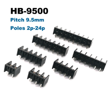 цена на 50pcs Barrier Screw PCB Terminal Block pitch 9.5mm Straight Pin 2/3/4/5/6/7/8P morsettiera blocks connector 300V 25A 14AWG