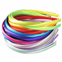 20pz/opp 1 Cm Wide Matte Satin Fabric with A Narrow Plastic Head Adolescent Hair Band Multicolor Optional